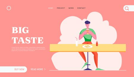 Hospitality Service, Gastronomy, Relaxing Business Lunch Time Website Landing Page. Hungry Character Eating Fast Food Illustration