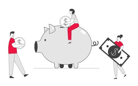 Man and Woman Put Golden Coin and Dollar Banknote into Piggy Bank. People Saving and Collect Money in Thrift-box, Open Bank Deposit. Family Finance Budget Cartoon Flat Vector Illustration, Line Art Illustration