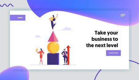 Zielerreichung Erfolg Website-Landingpage. Erfolgreiches Geschäftsteam feiert den Sieg mit riesigem roten Pfeil und goldenem Kelch auf dem Banner der Pyramid-Webseite. Flache Vektorillustration der Karikatur