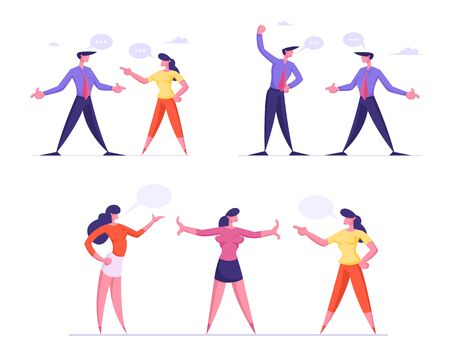 Set of Arguing Businesspeople. Businesswoman Referee Stand between of Angry Colleagues Preparing to Fight Waving Fists. Business Competition Challenge, Disagreement. Cartoon Flat Vector Illustration
