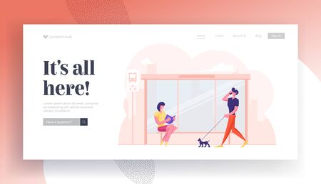 City Transport Website Landing Page. People on Bus Station. Young Woman Sitting on Bench Reading Book while Waiting Commuter. Man Walking with Dog Web Page Banner. Cartoon Flat Vector Illustration Illusztráció