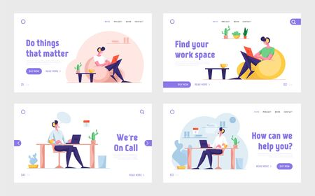 Freelance Job and Hotline Support Service Website Landing Page Set. Character Work at Home. Operator Solve Client Problems in Online or Mobile Chat Web Page Banner. Cartoon Flat Vector Illustration