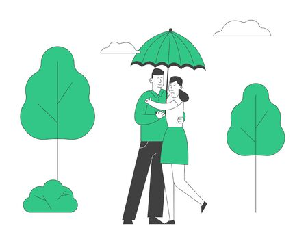 Love, Romantic Relations. Man and Woman Dating, Loving Happy Couple Hugging and Walking under Umbrella in Park at Rainy Weather. Fall Day Promenade Together. Cartoon Flat Vector Illustration, Line Art