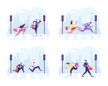 Set of Busy Businesspeople Crossing Pedestrian City Crosswalk. Businessman and Businesswoman Running Fast over Road with Zebra and Traffic Lights Hurry Up at Work. Cartoon Flat Vector Illustration