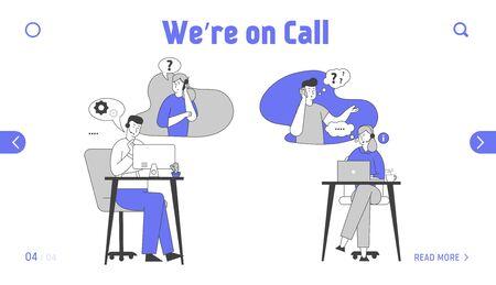 Pagina di destinazione del sito Web del servizio di hotline. Personale del call center in cuffia che chatta con i clienti su computer e telefono. Banner della pagina Web del supporto tecnico in linea. Cartoon piatto illustrazione vettoriale, Line Art Vettoriali