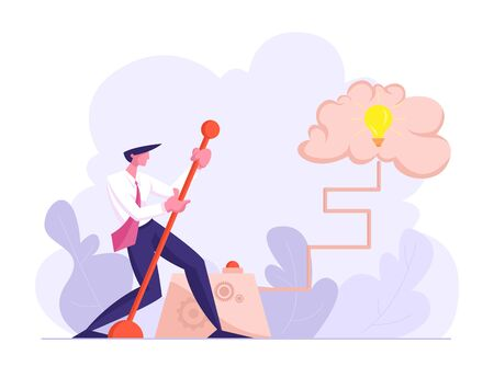 Businessman Moving Huge Lever Arm to Switch on Light Bulb inside of Human Brain. Creative Idea, Brainstorm Concept. Office Person Thinking and Searching Solution. Cartoon Flat Vector Illustration Иллюстрация