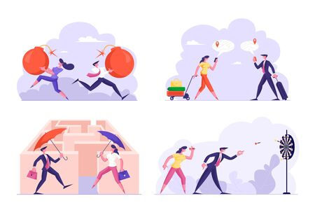 Set of Businesspeople Tax Payment, Gps Navigator Using, Choosing Way in Labyrinth, Playing Darts Isolated on White Background. Business Man and Woman Office Lifestyle. Cartoon Flat Vector Illustration