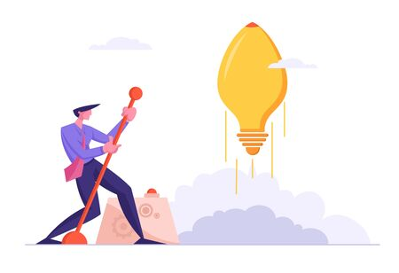 Businessman Launch Huge Light Bulb in Shape of Rocket Moving Lever Arm, Business Project Startup. Financial Idea Strategy Realization Success and Searching Solution. Cartoon Flat Vector Illustration Иллюстрация