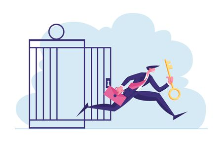 Financial Freedom Concept. Businessman with Golden Key Get Out of Metal Cage. Business Man Escape Limitations Having Creative Solution for Finance Success Achievement Cartoon Flat Vector Illustration