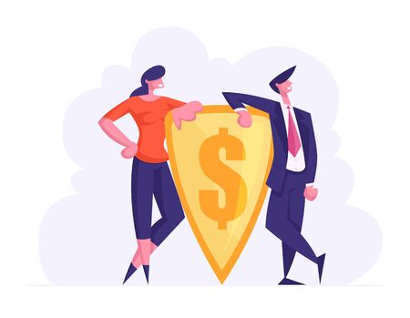 Money Protection and Finance Defence Concept. Businesspeople Holding Gold Shield with Engraved Dollar Sign. Financial Insurance and Safety, Bank Deposit Assurance Cartoon Flat Vector Illustration