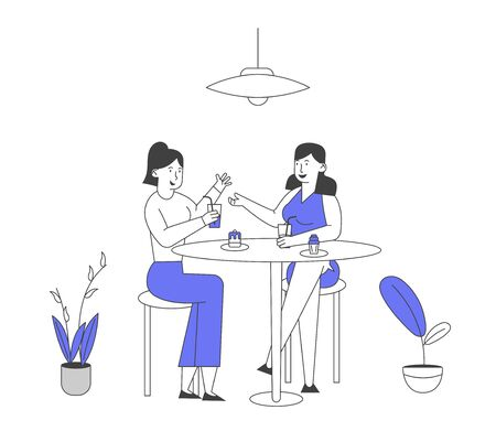 Couple of Girl Friends Sitting at Table with Food Drinking Beverages and Communicating. Female Characters Friendship, Chatting Women Having Leisure Sparetime Cartoon Flat Vector Illustration, Line Art