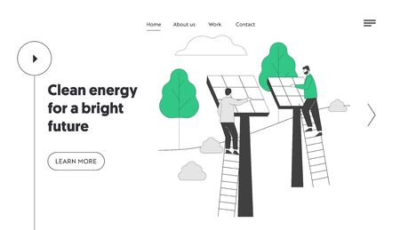 Renewable Green Energy Website Landing Page. Men Stand on Ladder Set Up Solar Panels for Using Power of Sun for Clean Electricity Development Web Page Banner. Cartoon Flat Vector Illustration Line Art Illustration