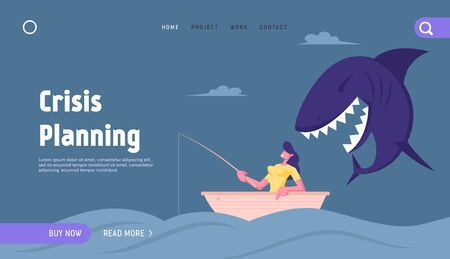 Unexpected Crisis, Credit Website Landing Page. Businesswoman Catching Fish with Fishing Rod in Sea. Huge Shark Creep Up from Back Prepare to Attack Web Page Banner. Cartoon Flat Vector Illustration