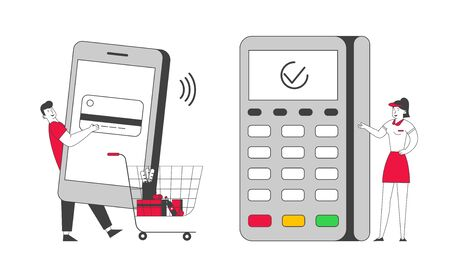 Smartphone Payment with Credit Card Reader Machine Concept. Man in Supermarket Pushing Trolley with Purchases Prepare Mobile Phone for Paying at Pos Terminal Cartoon Flat Vector Illustration, Line Art  イラスト・ベクター素材