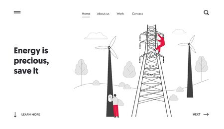 Energy Station Powerline in City Website Landing Page. Electrician Workers with Tools and Equipment Electric Transmission Tower Maintenance Web Page Banner. Cartoon Flat Vector Illustration, Line Art Illustration