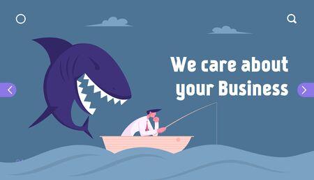 Dificultades inesperadas, página de inicio del sitio web de crisis. Hombre de negocios pensativo que pesca en el océano, un enorme tiburón se le acerca sigilosamente desde atrás Prepárese para atacar el banner de la página web. Ilustración de Vector plano de dibujos animados Ilustración de vector