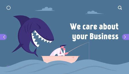 Unexpected Difficulties, Crisis Website Landing Page. Thoughtful Businessman Fishing in Ocean, Huge Shark Sneak Up to him from Back Prepare to Attack Web Page Banner. Cartoon Flat Vector Illustration
