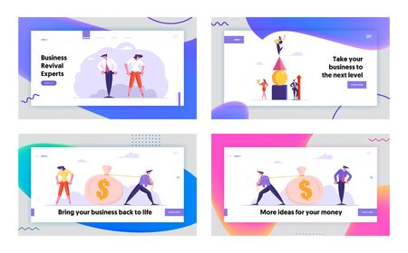 Bankruptcy, Leadership and Money Website Landing Page Set. Business People Forming Huge Pyramid, Pulling Sack with Dollars, Turn Out Empty Pockets Web Page Banner. Cartoon Flat Vector Illustration