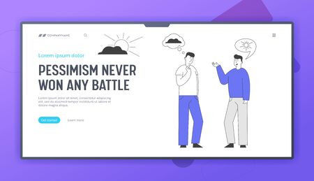 Different Points of View Website Landing Page. Couple of Men Discussing. Pessimist Optimist Friends Communicate with Sun and Cloud Thoughts Web Page Banner. Cartoon Flat Vector Illustration, Line Art Vectores