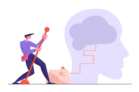 Creativity and Searching Solution Concept. Businessman Moving Huge Lever Arm to Switch on Brain inside of Human Head. Creative Idea, Brainstorm. Office Person Thinking Cartoon Flat Vector Illustration Иллюстрация