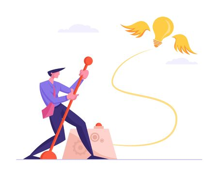 Businessman Searching Creative Idea Concept. Business Man Push Huge Lever Arm for Launching Glowing Light Bulb Flying on Wings at Sky. Creativity Process, Brainstorm. Cartoon Flat Vector Illustration Иллюстрация