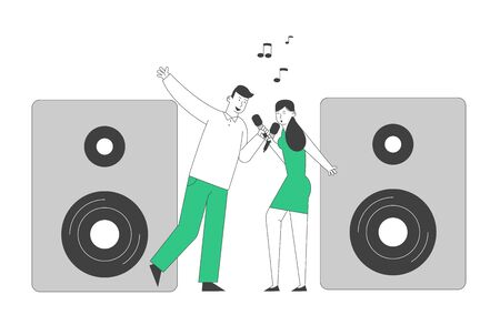 Cheerful Couple Singing Song with Microphones near Huge Dynamics in Karaoke Bar or Nightclub. Weekend Sparetime, Creative Hobby, Corporate Party Celebration. Cartoon Flat Vector Illustration, Line Art Vectores