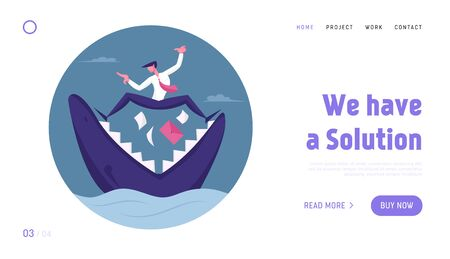 Business Man Trying to Survive in Crisis Website Landing Page. Scared Businessman Stand on Jaws of Shark with Briefcase and Documents Falling in Chops Web Page Banner. Cartoon Flat Vector Illustration