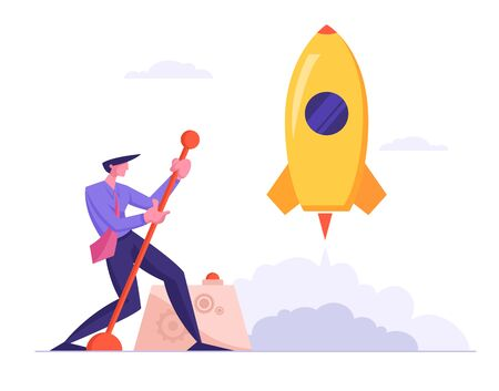 Businessman Launching Business Project Space Ship Startup. Financial Idea Realization and Success. Creative Business Man with Huge Lever Arm Launch Rocket Start Up. Cartoon Flat Vector Illustration