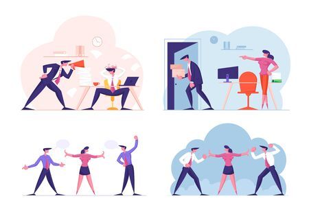 Set of Businesspeople Working Failures and Frustration. Boss Crying on Worker to Megaphone, Employee Get Fired from Job, Colleagues Quarrel and Prepare to Fighting. Cartoon Flat Vector Illustration