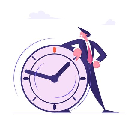 Self Confident Businessman Leaning on Huge Clock. Deadline, Time Management in Working Process and Procrastination Concept. Planning and Strategy for Business Solution Cartoon Flat Vector Illustration