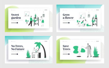 People Gardening at Home and in Greenhouse Website Landing Page Set. Happy Family Couple Household with Plants. Scientists Working in Garden Web Page Banner. Cartoon Flat Vector Illustration, Line Art Illusztráció