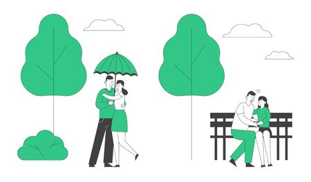 Loving Couples Spare Time. Young People in Love Spend Time Together, Man and Woman Walking under Umbrella