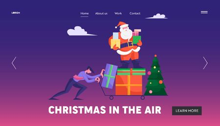 Corporate Xmas Website Landing Page. Businessman Pushing Trolley with Santa Claus Stand on Pile of Presents Holding Gift