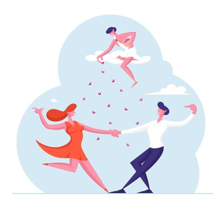 Love Relations Concept. Happy Loving Couple Sparetime. Cheerful Man and Woman Characters Spend Time Together Dancing and Rejoice with Cupid Throw Hearts from Sky. Cartoon Flat Vector Illustration