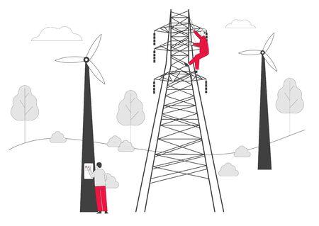 Trabajadores electricistas con herramientas y equipos Mantenimiento de torres de transmisión eléctrica. Powerline de la central eléctrica en la ciudad. Postes de líneas telefónicas o eléctricas. Ilustración de Vector plano de dibujos animados, arte lineal