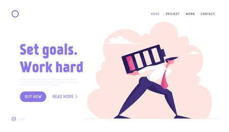 Deadline Overload and Life Energy Website Landing Page. Businessman Carry Huge Battery with Low Red Charging Level on Back Working from the Last Force Web Page Banner. Cartoon Flat Vector Illustration