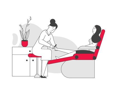 Woman Visiting Pedicure Salon for Applying Beauty Procedure. Master Polishing and Care for Nails to Client Girl Sitting in Comfortable Transforming Chair. Cartoon Flat Vector Illustration, Line Art