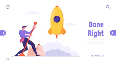 Financial Idea Start Up Realization and Success Website Landing Page. Businessman Launching Business Project Space Ship Startup with Huge Lever Arm Web Page Banner. Cartoon Flat Vector Illustration Иллюстрация