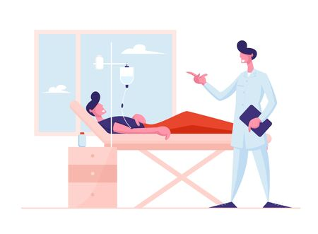 Medicine Health Care Concept. Doctor Wearing Medical Robe Visiting Patient Lying with Dropper in Bed at Hospital Chamber. Medical Check Up, Sick Man Recovery Process Cartoon Flat Vector Illustration
