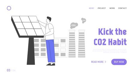 Green Energy Environment Website Landing Page. Man Set Up Solar Panel near Factory with CO2 Gas Evolving from Pipes. Renewable Power of Sun, Web Page Banner. Cartoon Flat Vector Illustration, Line Art