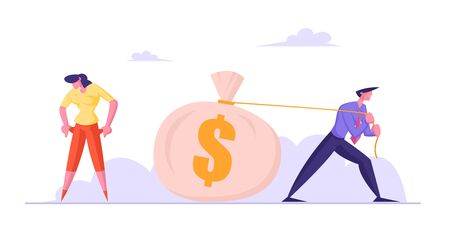 Businessman Pulling Huge Sack with Dollars, Businesswoman Turn Out Empty Pockets with No Money. Cheater Rob Trustful Woman. Bankruptcy, Unemployment, Economy Crisis Cartoon Flat Vector Illustration