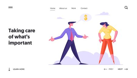 Unemployment, Bankruptcy and Poverty Website Landing Page. Woman Showing Empty Pockets to Businessman Asking Money