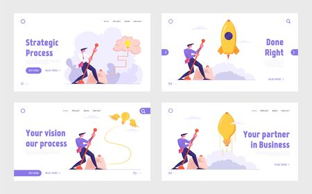 Creative Idea and Searching Solution Website Landing Page Set. Businessman Launch Rocket Light Bulb Push Lever Arm, Business Project Startup, Brain Web Page Banner. Cartoon Flat Vector Illustration Иллюстрация