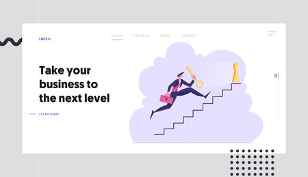 Way to Success Website Landing Page. Businessman Character Carry Golden Key Upstairs to Unlock Keyhole. Leadership Career Growth Business Task Solution Web Page Banner Cartoon Flat Vector Illustration  イラスト・ベクター素材