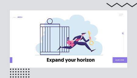 Financial Freedom Website Landing Page. Businessman with Golden Key Get Out of Metal Cage Escape Limitations, Creative Solution for Finance Success Web Page Banner. Cartoon Flat Vector Illustration