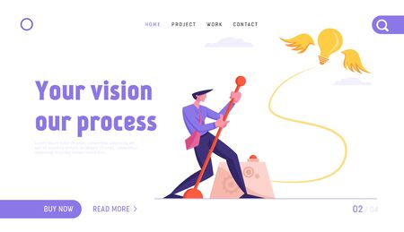 Businessman Searching Creative Idea Website Landing Page. Business Man Push Huge Lever Arm for Launching Glowing Light Bulb Flying on Wings at Sky Web Page Banner. Cartoon Flat Vector Illustration Иллюстрация