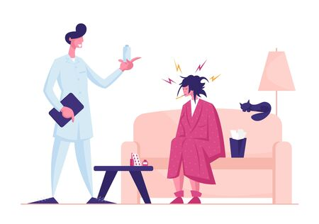 Doctor Visiting Sick Patient at Home Giving Medicine for Treatment. Unhappy Weak Woman with Thermometer in Mouth Sitting on Couch Need Taking Pills for Recovery. Cartoon Flat Vector Illustration