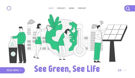 Save Planet Environment Website Landing Page. Characters Care of Plants, Throwing Trash to Recycling Litter Bins, Set Up Solar Panels Web Page Banner. Cartoon Flat Vector Illustration, Line Art Vektorové ilustrace