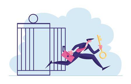 Konzept der finanziellen Freiheit. Geschäftsmann mit goldenem Schlüssel raus aus Metallkäfig. Einschränkungen bei der Flucht von Geschäftsmann