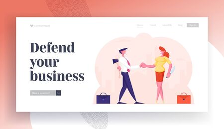 Betrayal Website Landing Page. Businessman and Businesswoman Shaking Hands and Smiling while Hiding Ax and Knife